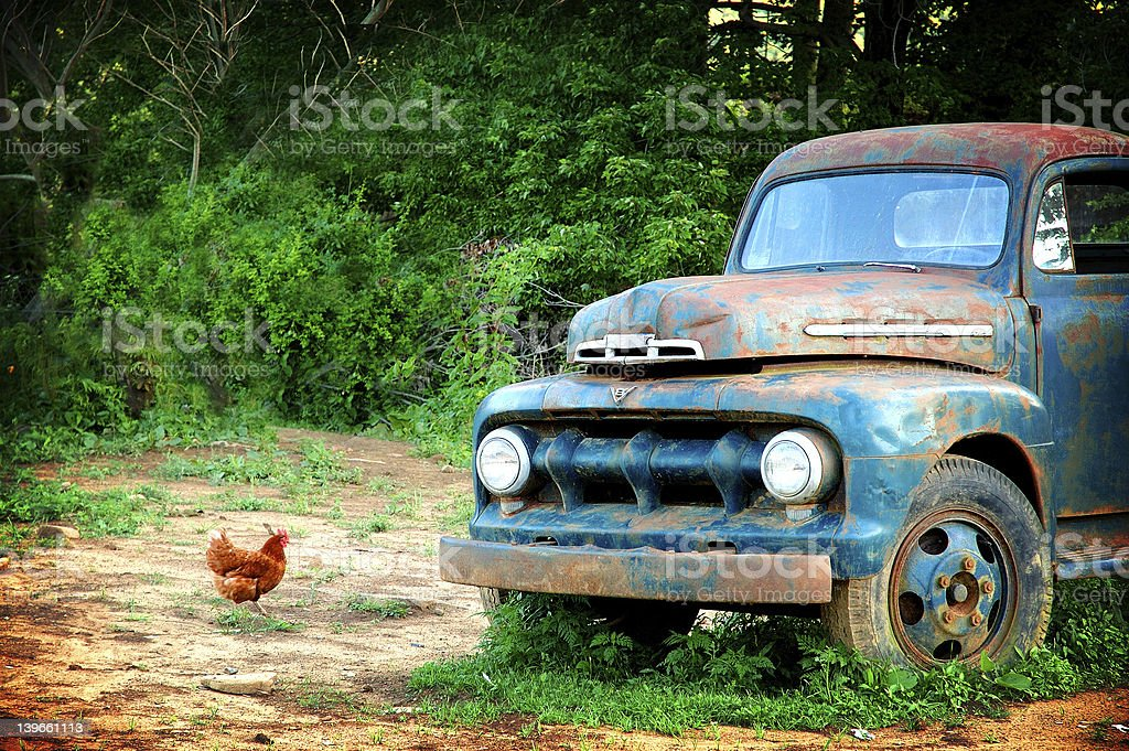 Chicken and Old Truck royalty-free stock photo
