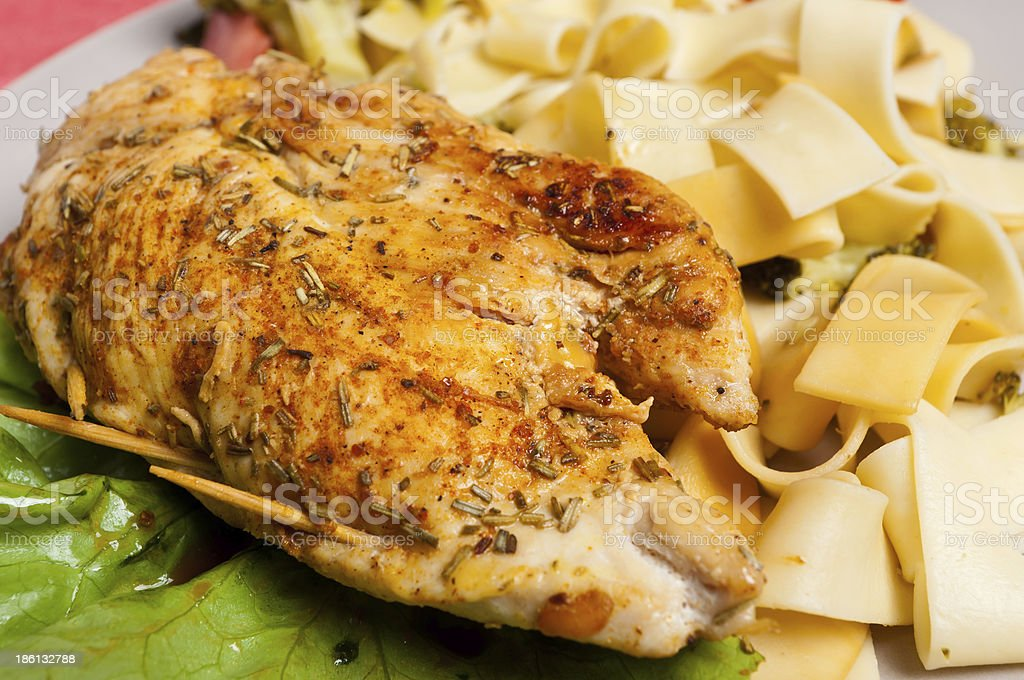 Chicken and pasta pappardelle stock photo