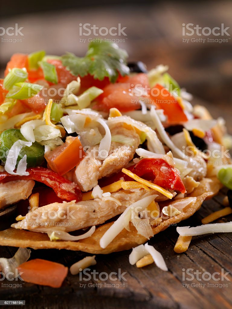 Chicken and Pepper Tostada stock photo