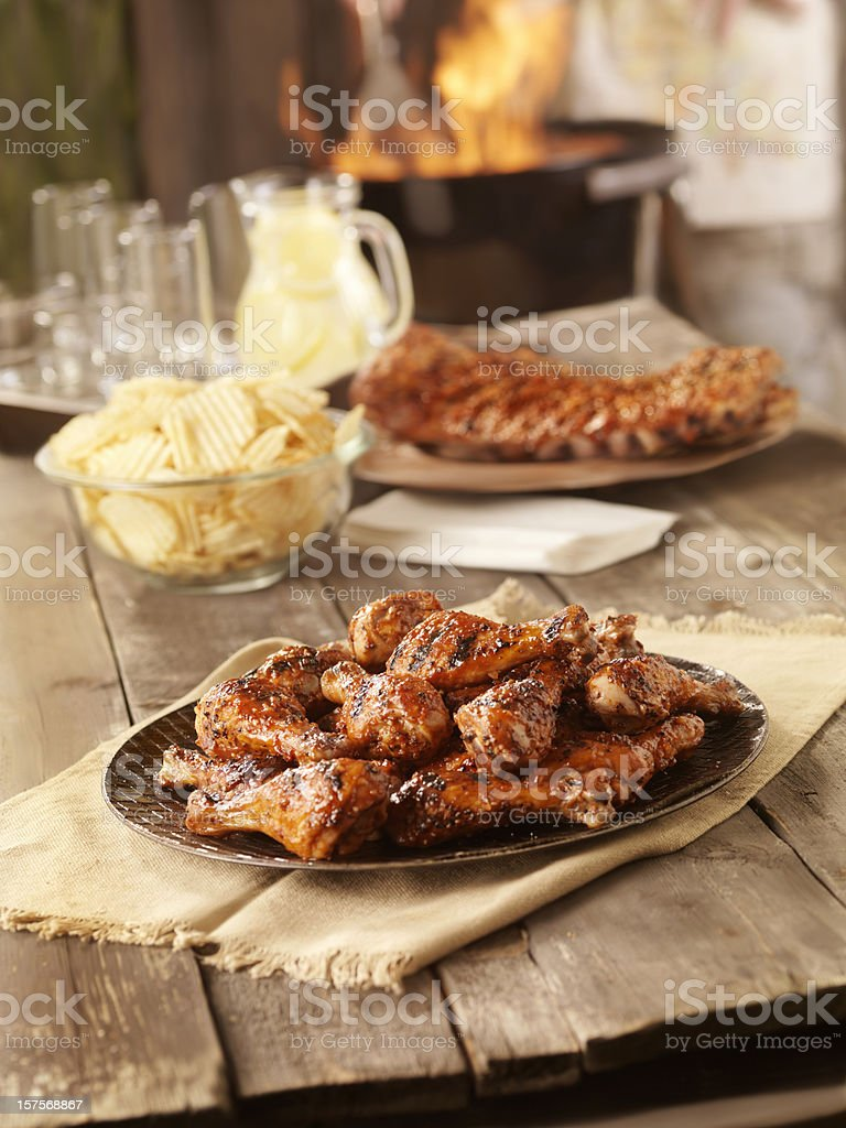 BBQ Chicken and Pork Ribs stock photo