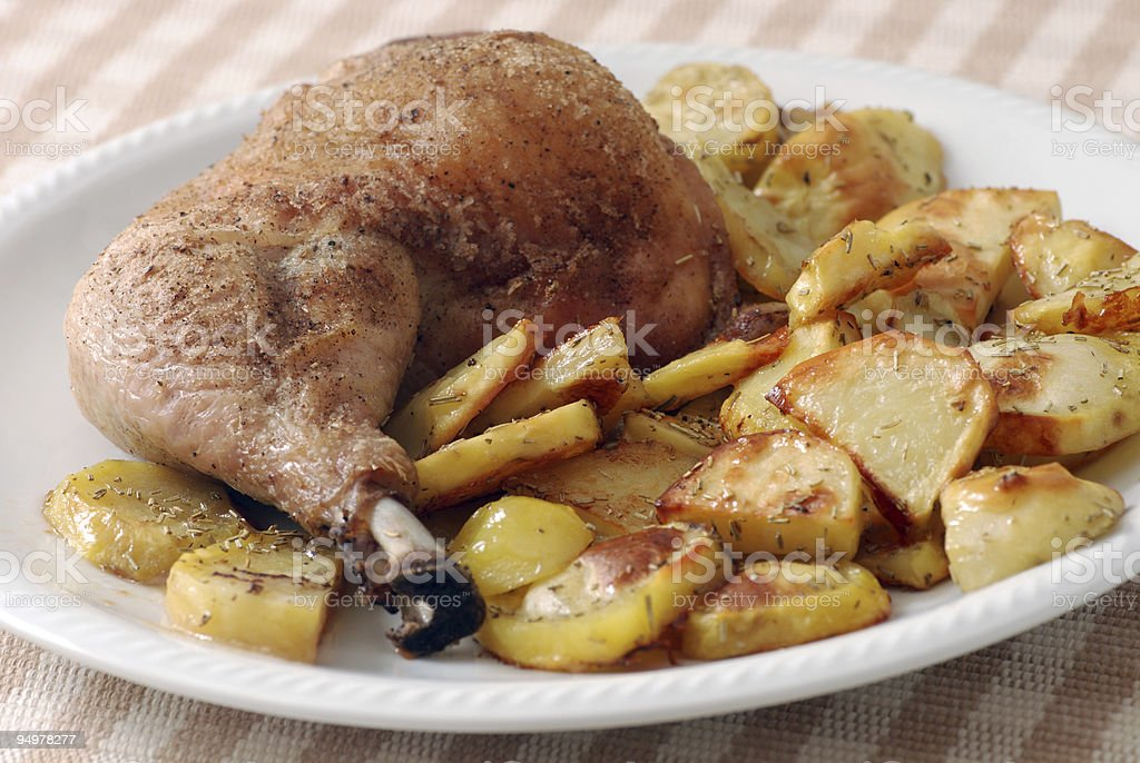 chicken and potatoes royalty-free stock photo
