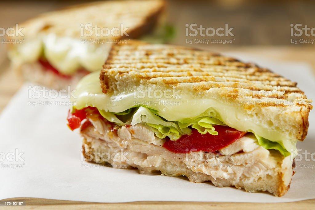 Chicken and salad panini sandwich stock photo