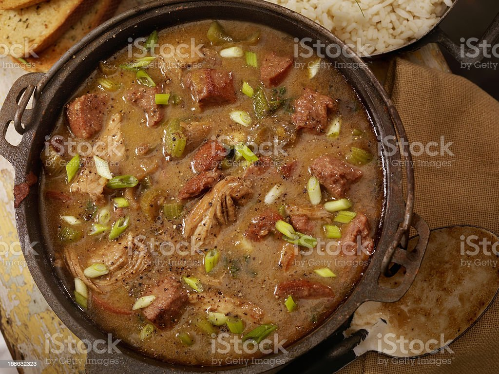 Chicken and Sausage Gumbo stock photo
