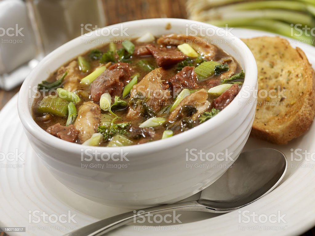 Chicken and Sausage Gumbo stock photo