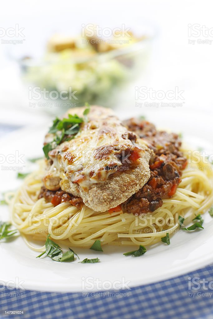 chicken and spaghetti meal stock photo