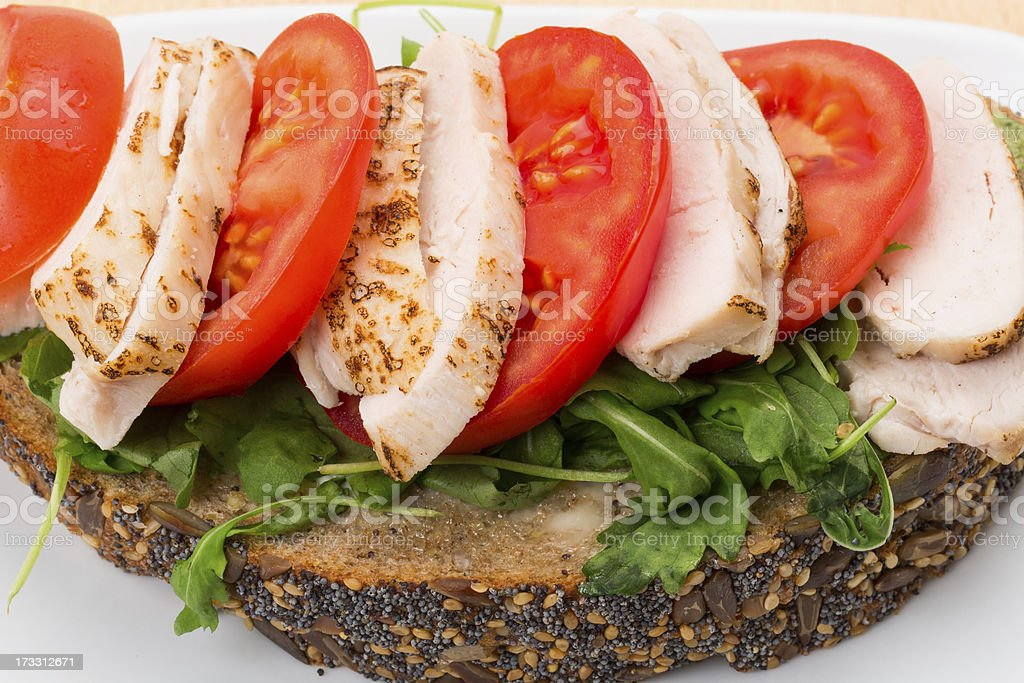 Chicken and tomato open sandwich stock photo