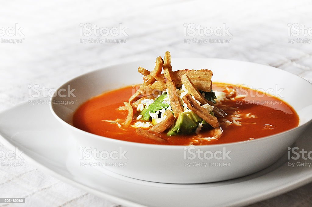 chicken and tortilla soup stock photo