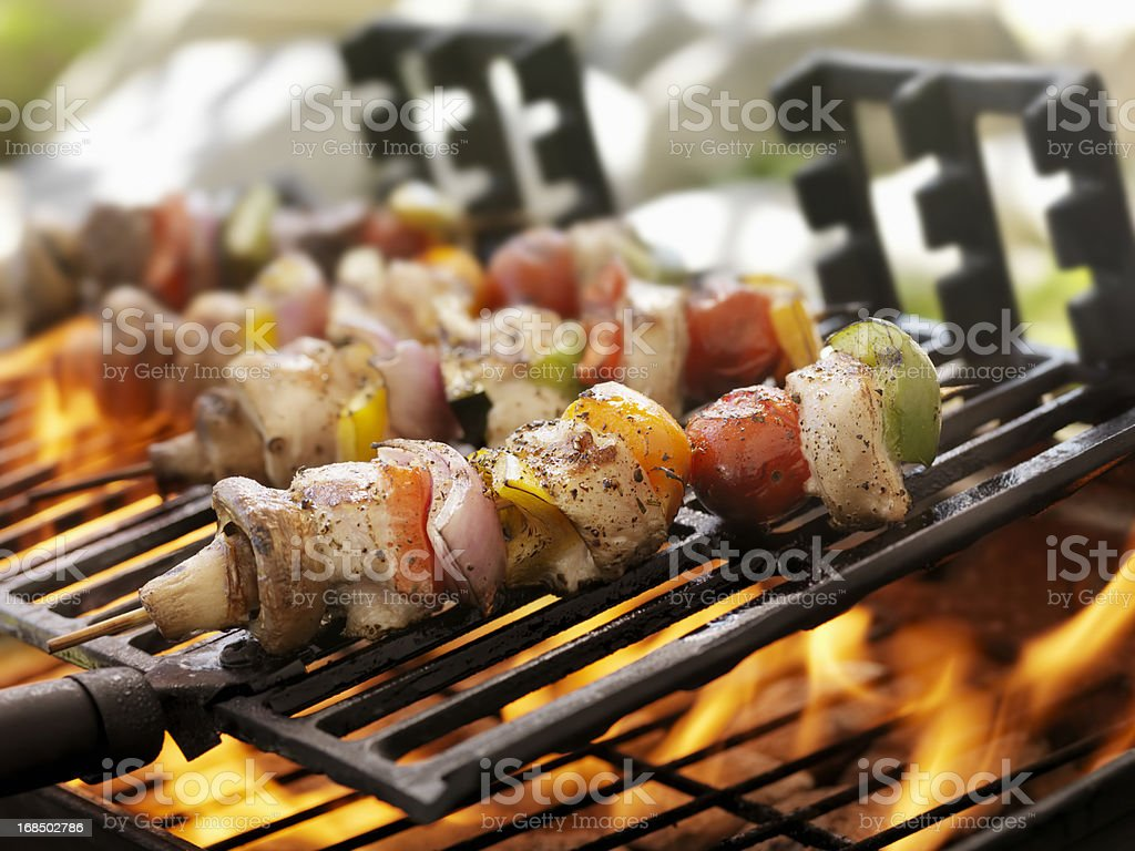 Chicken and Vegetable Kabobs on a Outdoor BBQ royalty-free stock photo