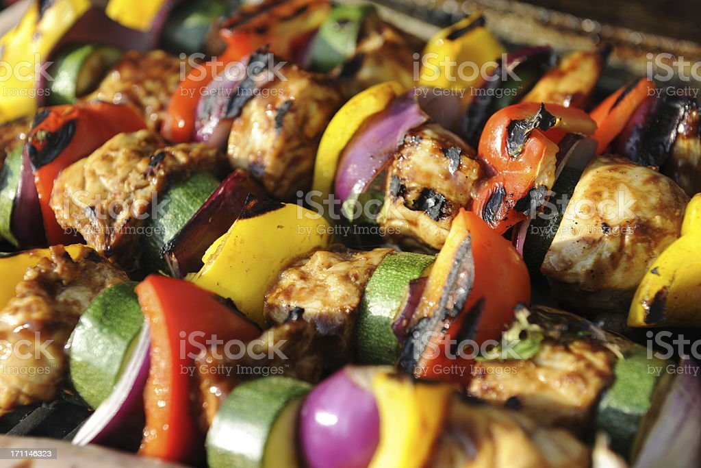 Chicken and Vegetable Kebab stock photo