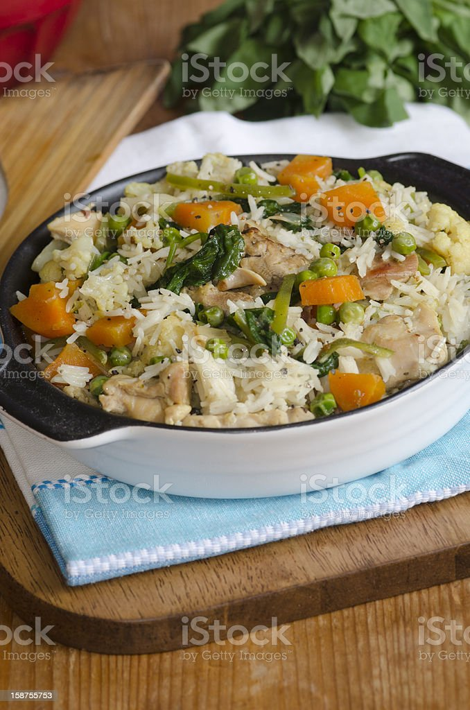 Chicken and vegetable pilaf royalty-free stock photo