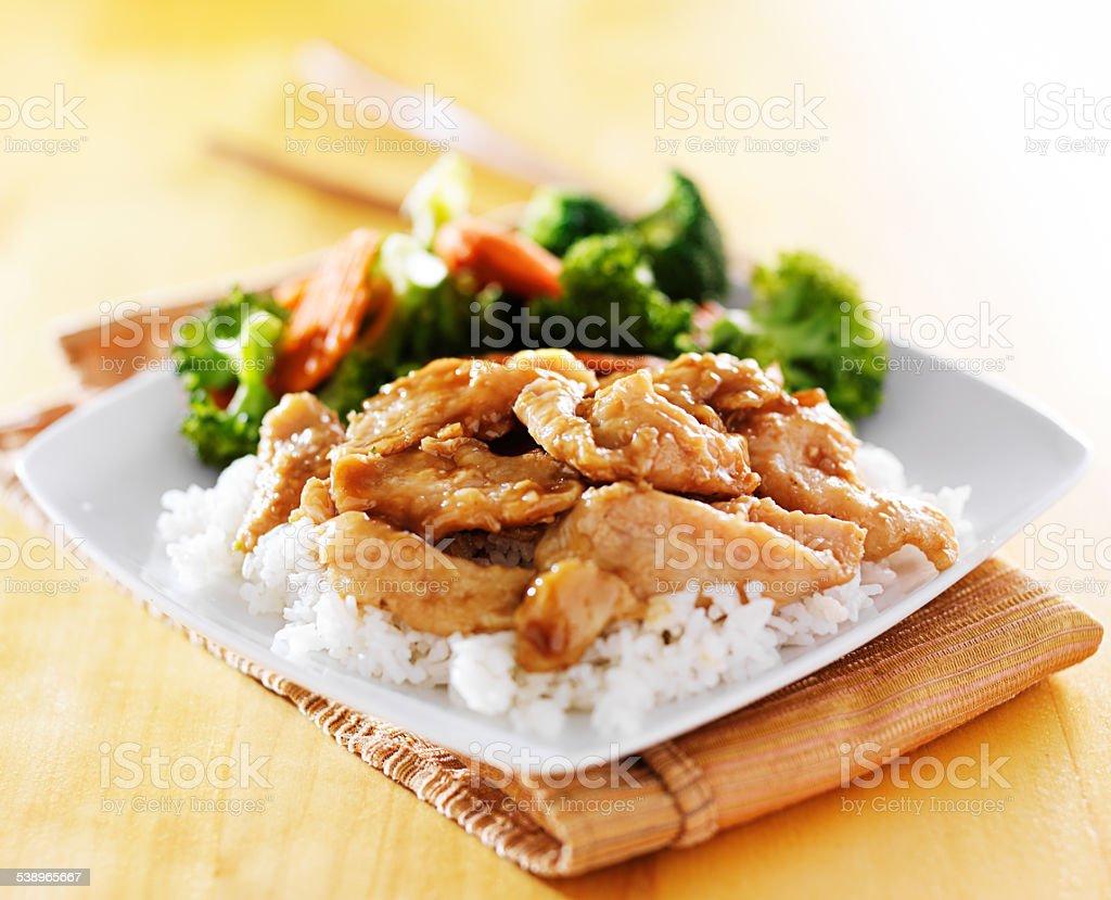 chicken and vegetable teriyaki stock photo