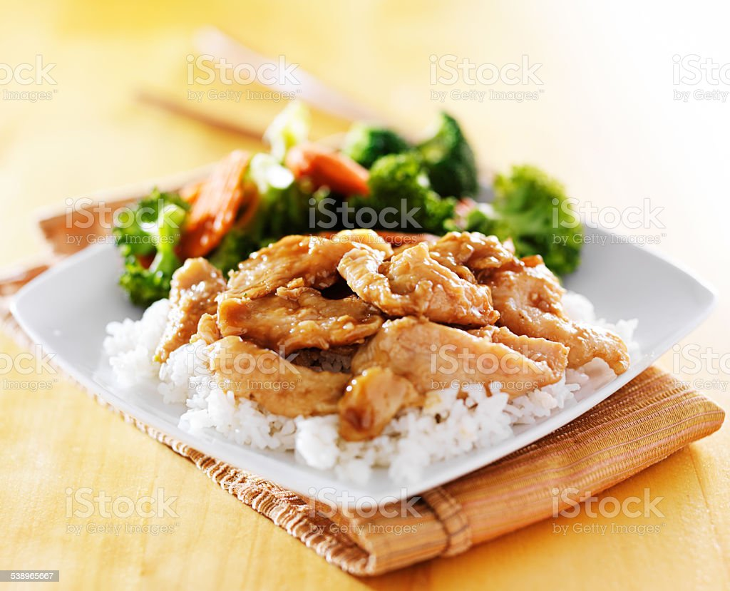 chicken and vegetable teriyaki stock photo