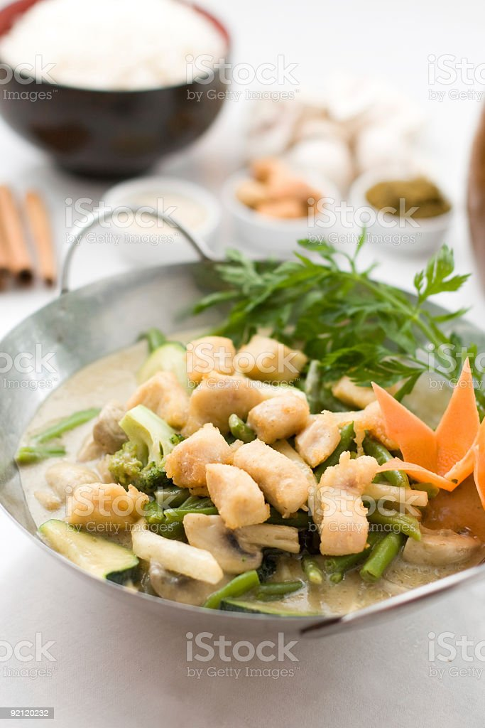 chicken and vegetables in hot green curry royalty-free stock photo