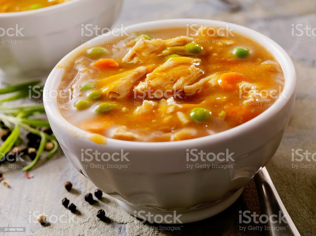 Chicken and Vegtable Soup stock photo