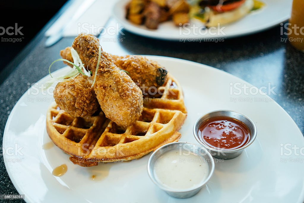 Chicken and waffles for brunch stock photo