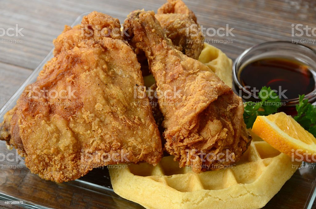 Chicken and Waffles royalty-free stock photo