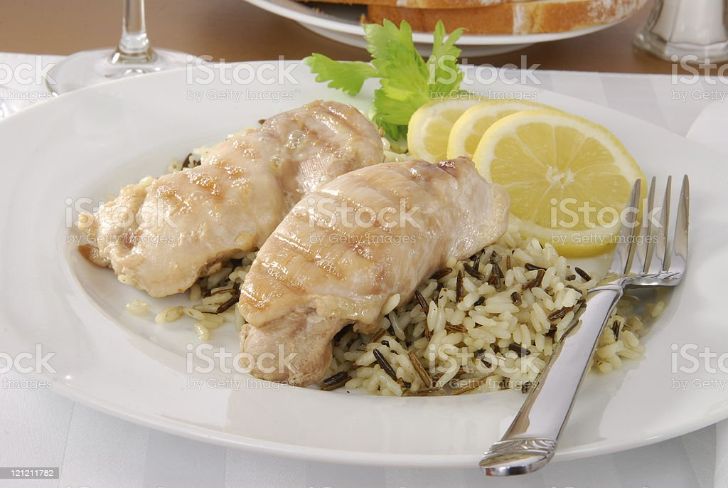 Chicken and wild rice stock photo