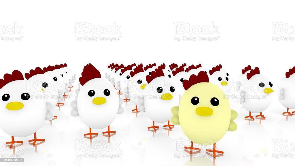 Chicken army with many little cute white chicken stock photo