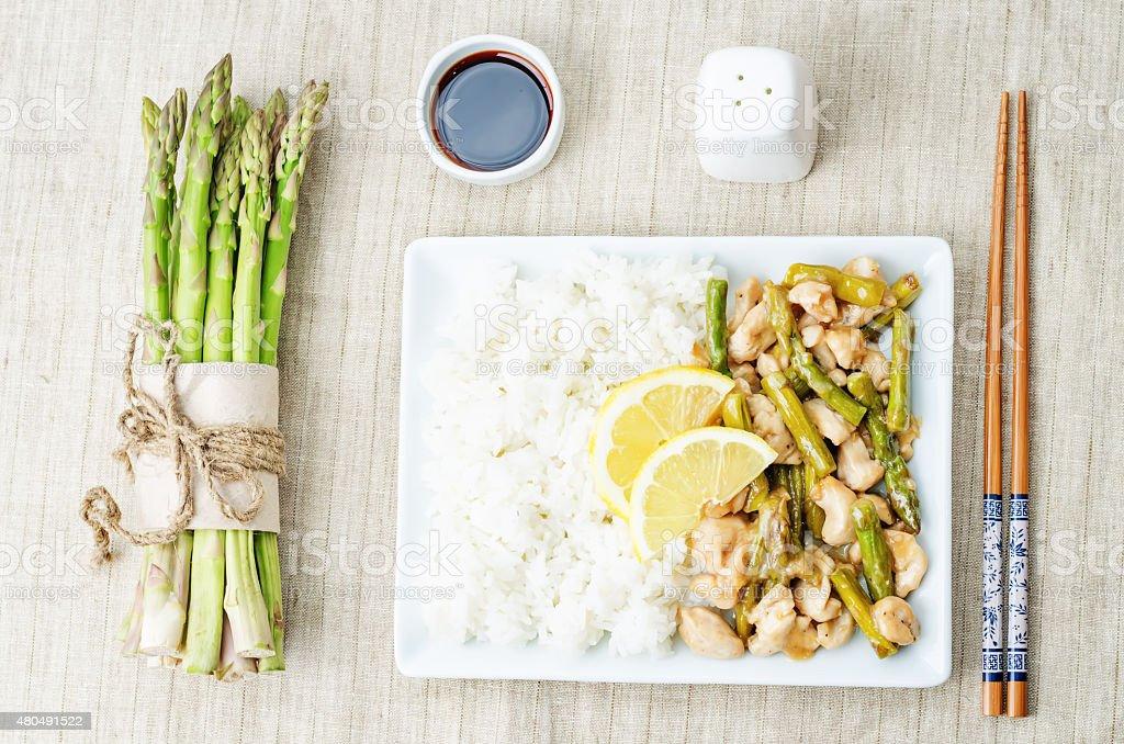 chicken asparagus lemon stir fry stock photo
