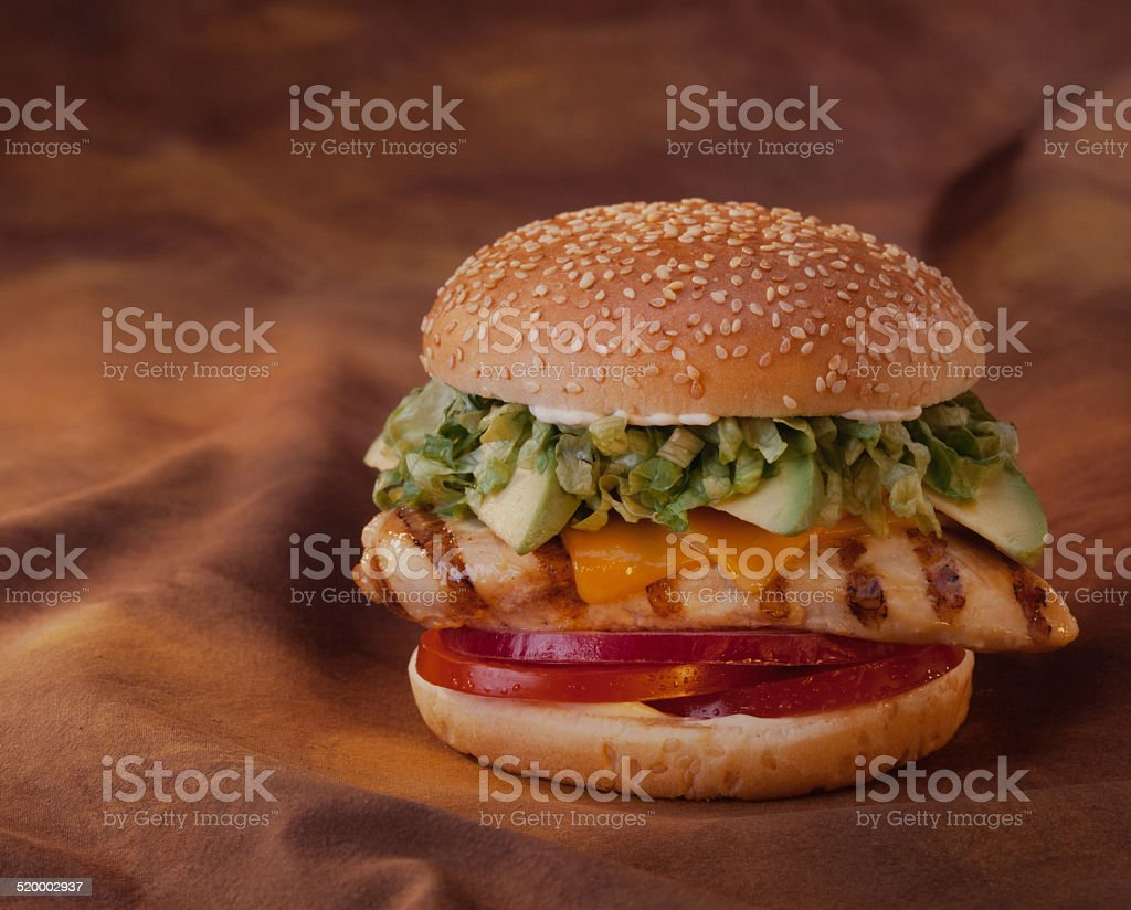 Chicken Avocado Burger stock photo