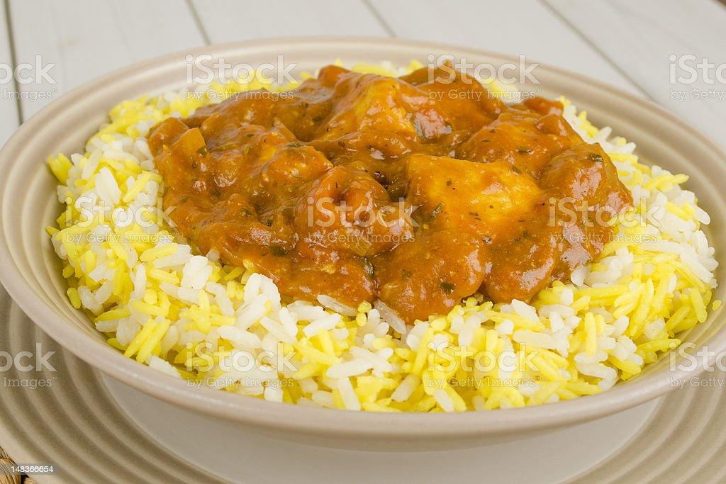 Chicken Bhuna & Pilau Rice stock photo