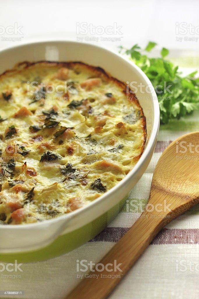 Chicken breast and cauliflower casserole royalty-free stock photo