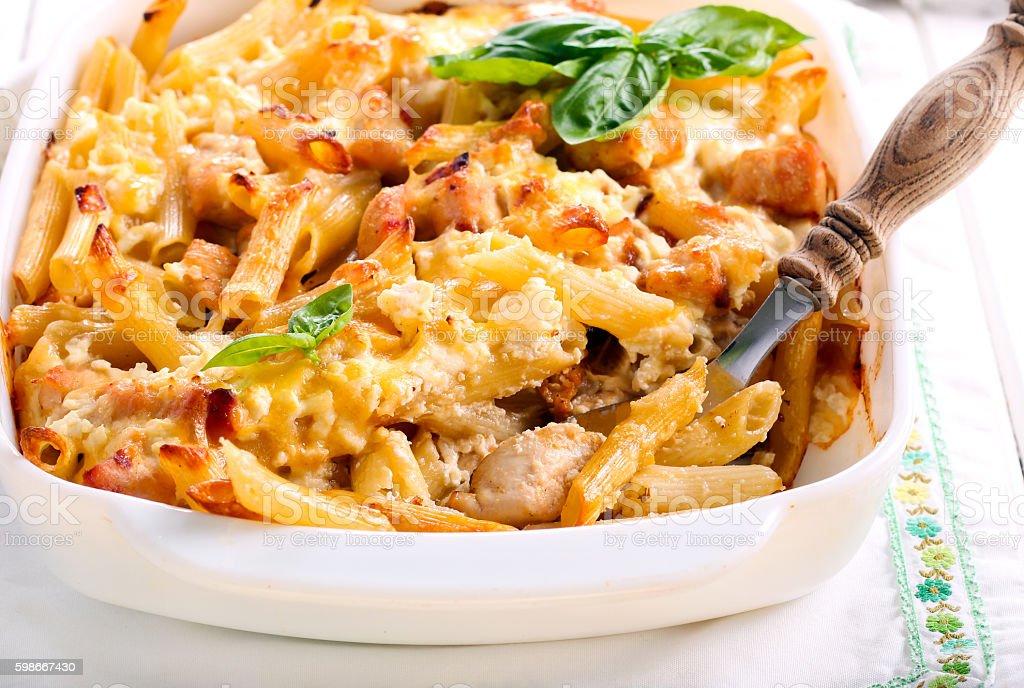 Chicken breast  and cheese rigatoni bake stock photo