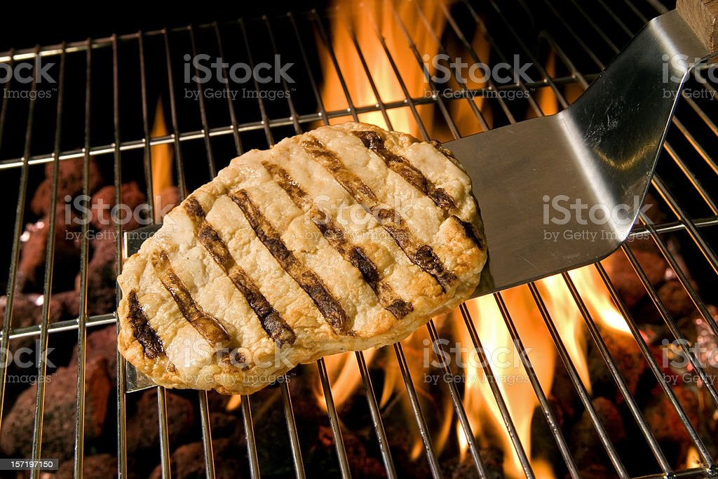 Chicken Breast and flames royalty-free stock photo