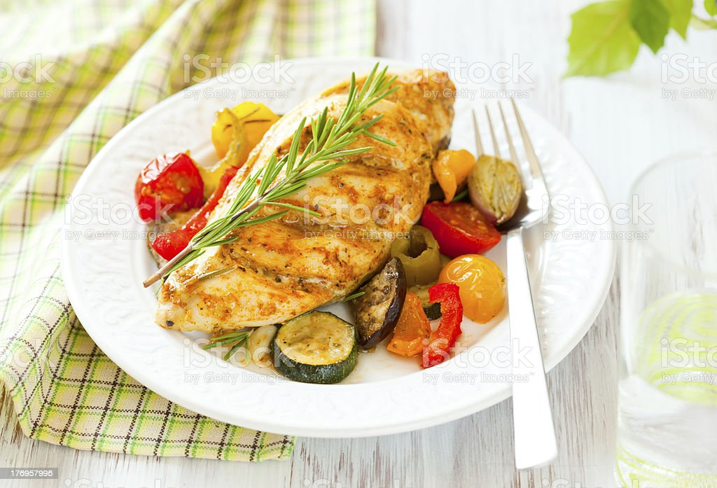chicken breast  and vegetables stock photo