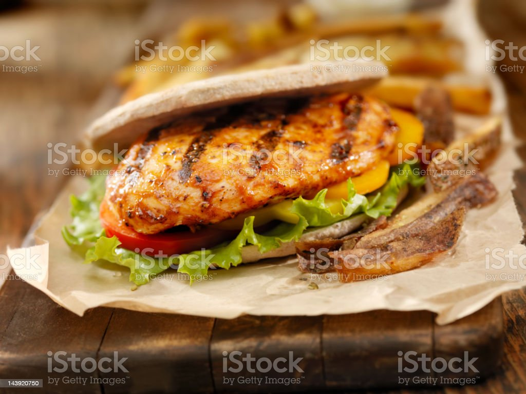 BBQ Chicken Breast Burger royalty-free stock photo