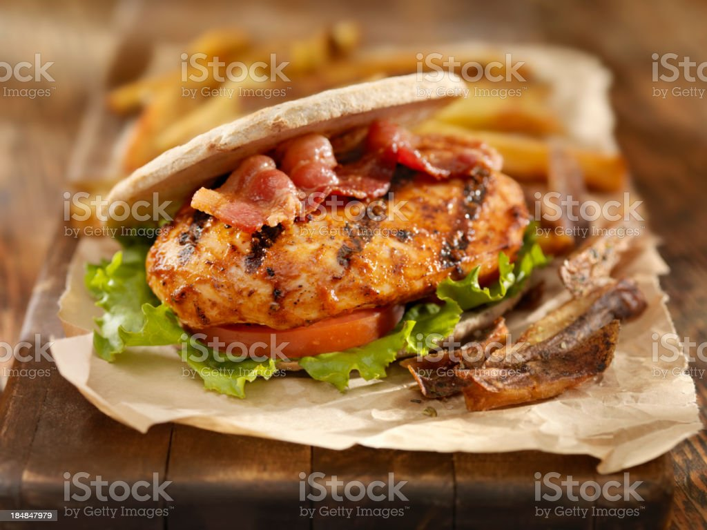 BBQ Chicken Breast Burger with Bacon stock photo