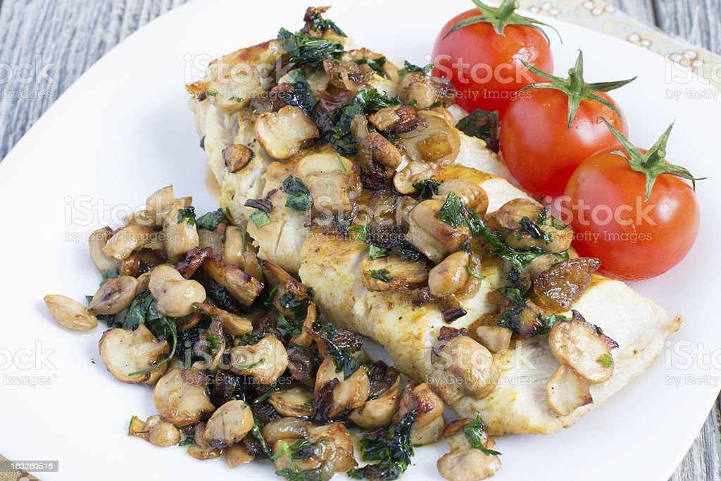 Chicken breast with champignons royalty-free stock photo
