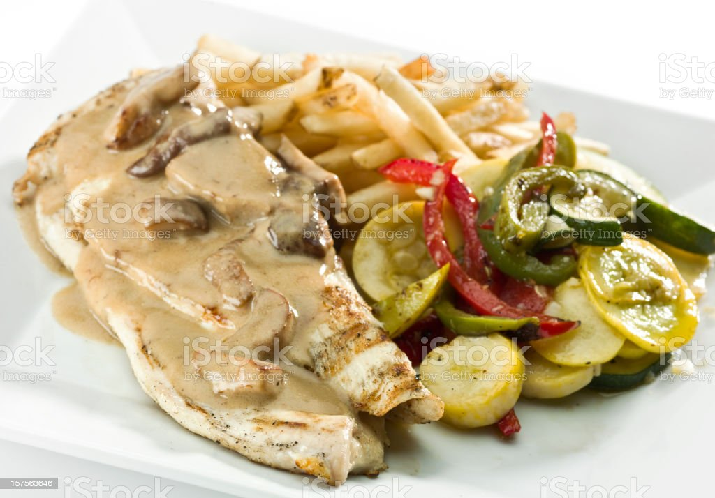 Chicken breast with mushrooms sauce royalty-free stock photo