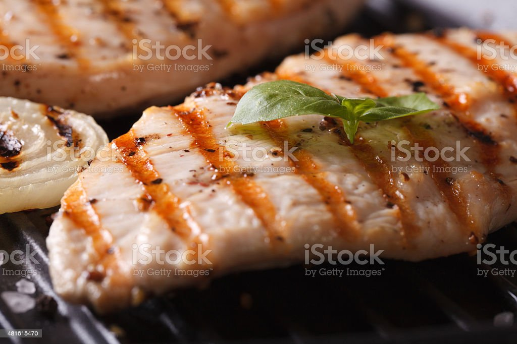 Chicken breast with onions and basil on the grill macro stock photo
