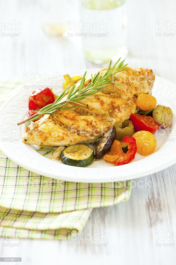 chicken breasts  and vegetables royalty-free stock photo