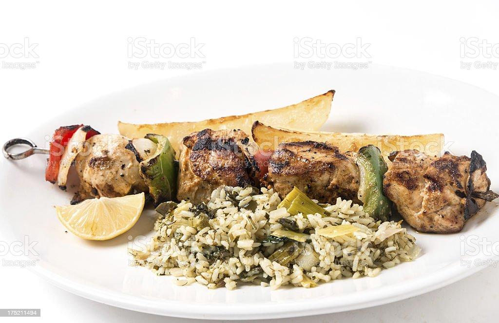 Chicken brochette stock photo
