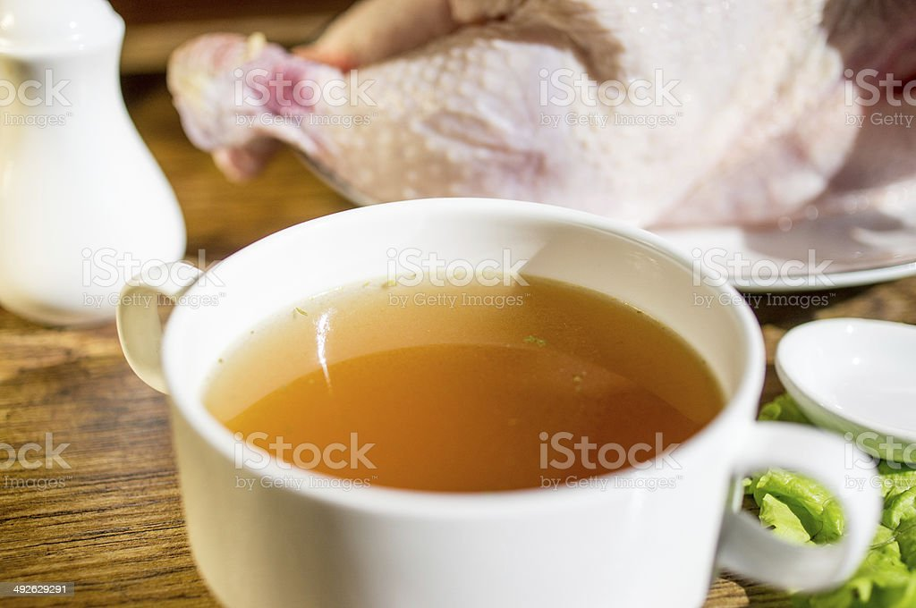 Chicken broth, bouillon, clear soup. stock photo