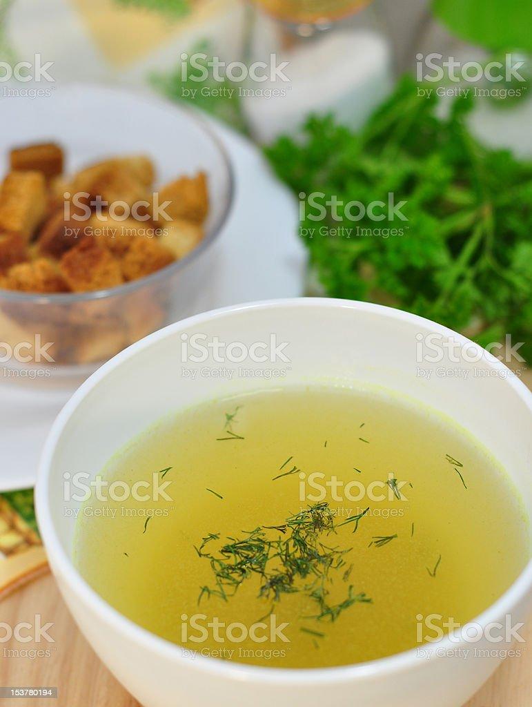 chicken broth stock photo
