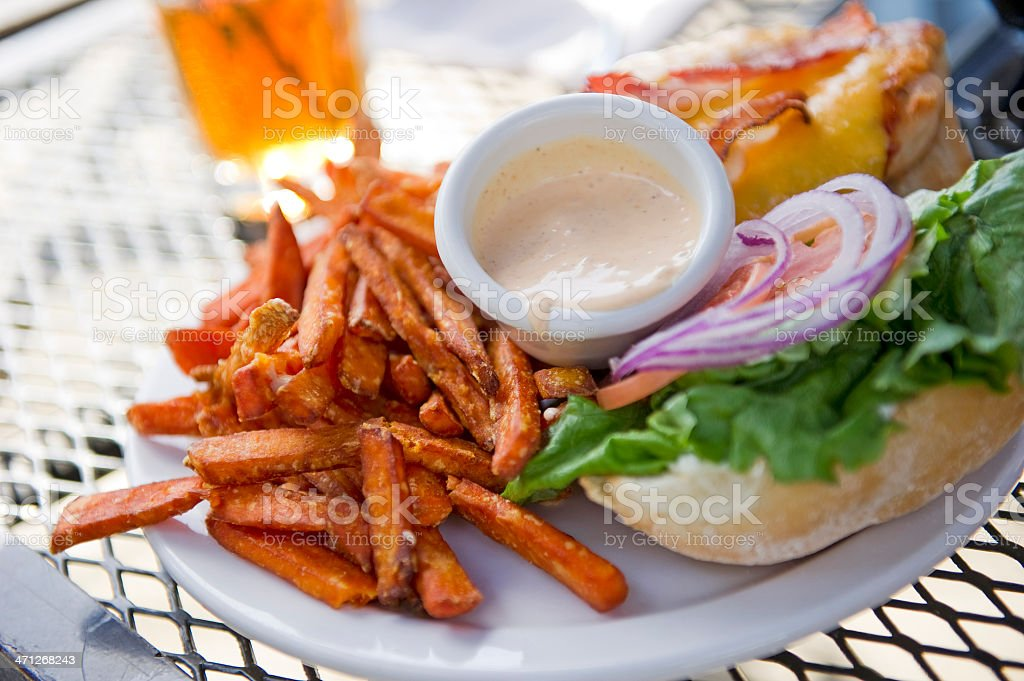 Chicken Burger and Yam fries royalty-free stock photo