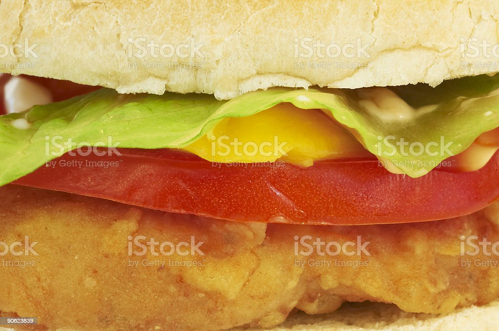 Chicken burger close-up stock photo