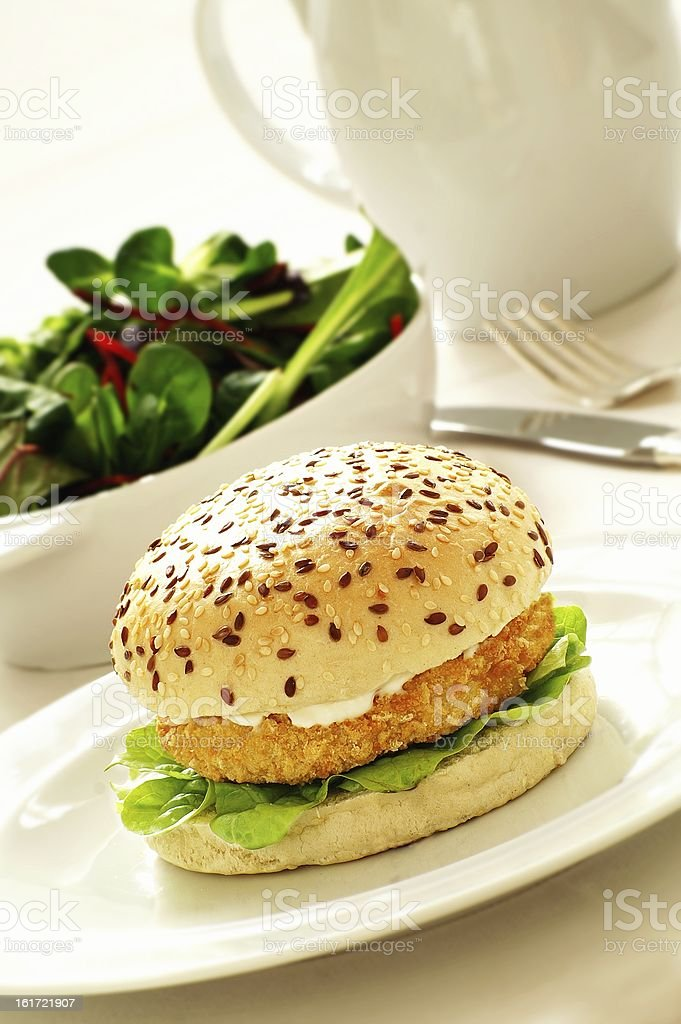 chicken burger in multi seed bun royalty-free stock photo