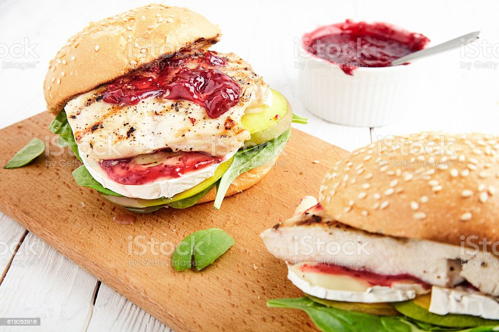 Chicken Burger with apple, cheese and jam stock photo