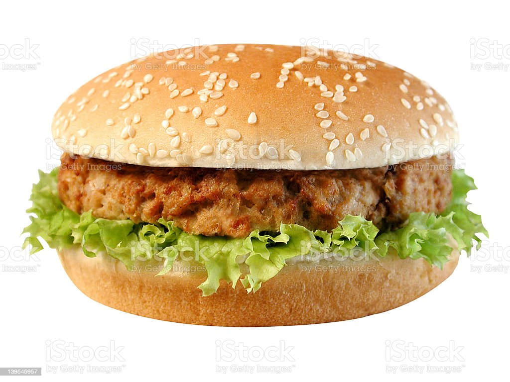 Chicken burger with salad stock photo