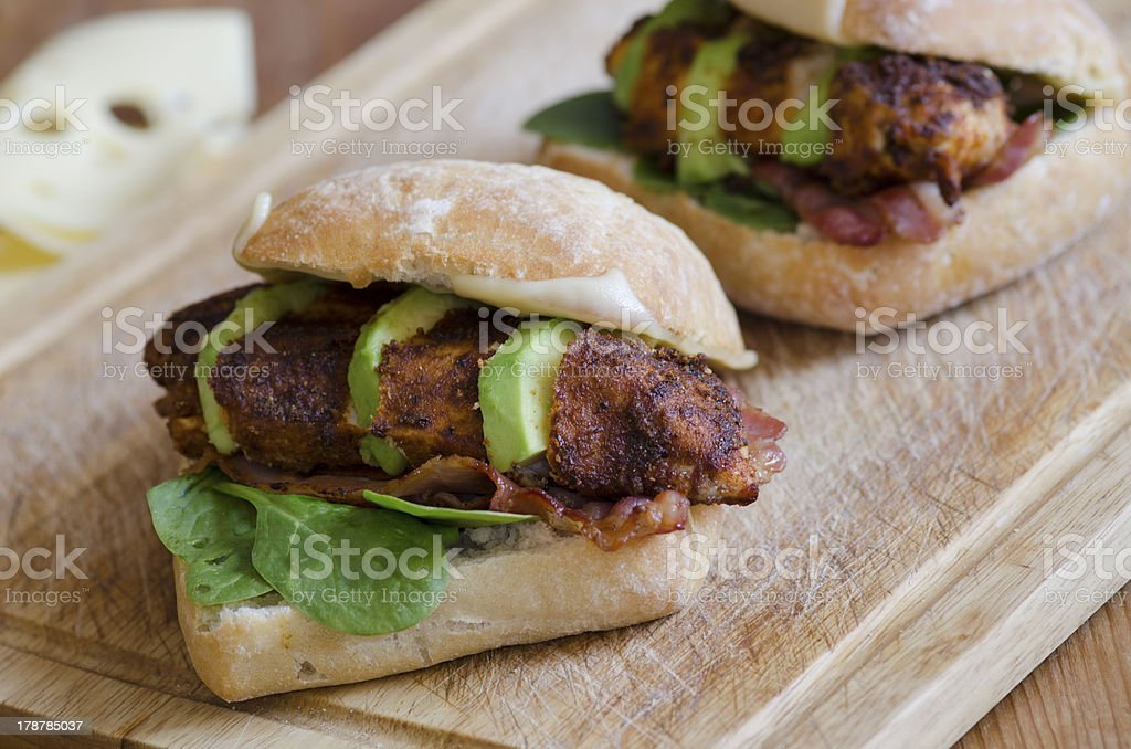 Chicken burgers stock photo