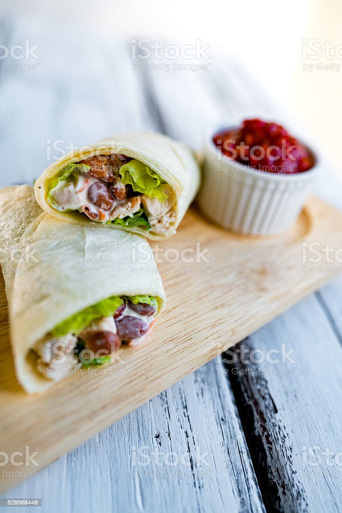 Chicken burrito stock photo