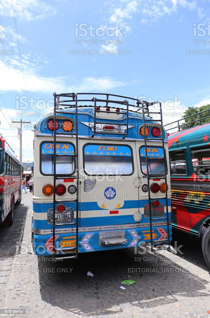 Chicken bus Antigua in Guatemala - May 2015 stock photo
