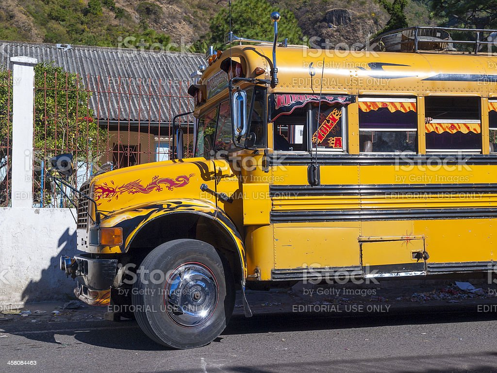 Chicken bus, Panajachel, Guatemala stock photo