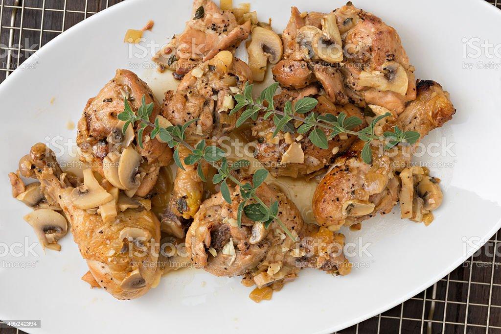 Chicken Cacciatore On A white Platter stock photo