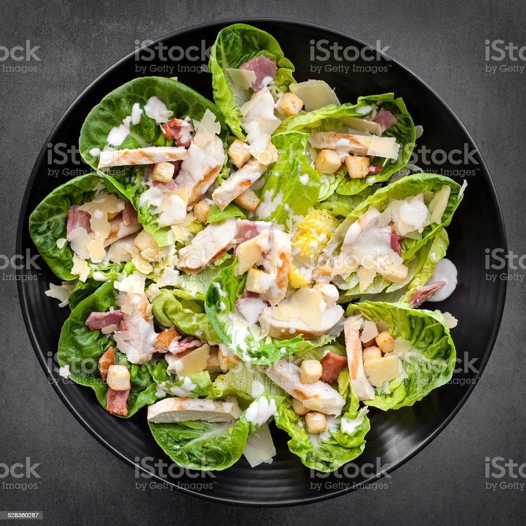 Chicken Caesar Salad Overhead View stock photo