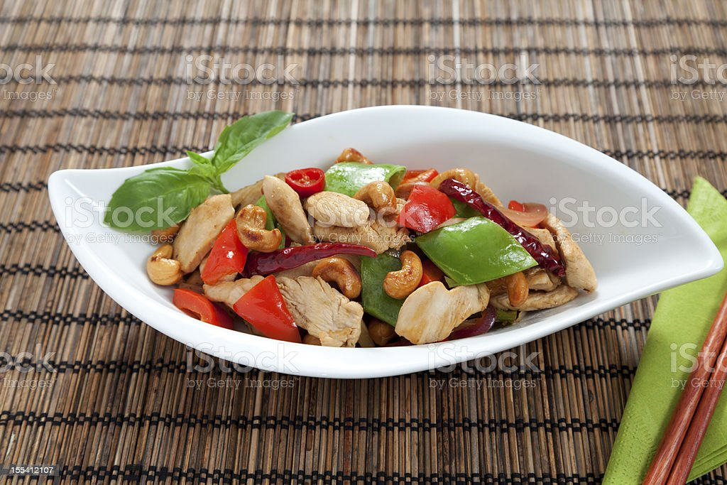 Chicken cashew nuts horizontal royalty-free stock photo